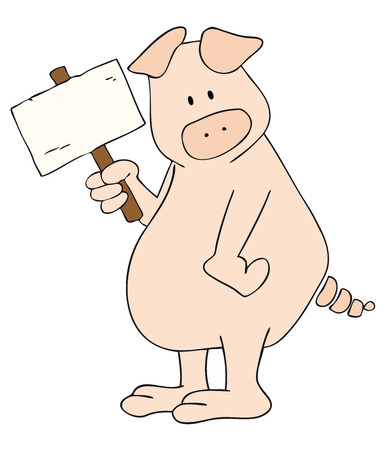 Vectorial: This is a pig with white placard in the hand.