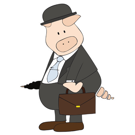 Vectorial: This is a caricature of a pig disguised as Businessman. Illustration