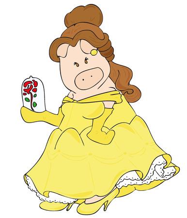 disfrazados: Vectoriales: Esta es una caricatura de un cerdo disfrazado como bella dama.  Vectores