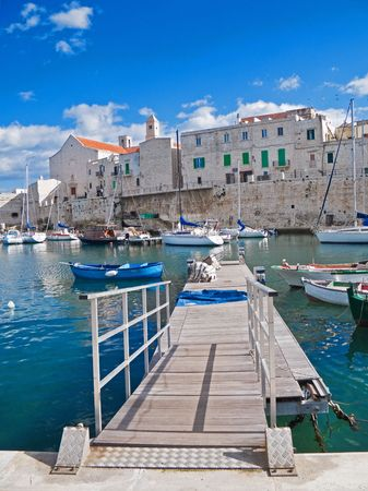 touristic: Tourism: This is a panoramic view of Giovinazzo touristic seaportof in Apulia. Stock Photo