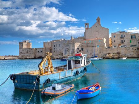 Tourism: This is a panoramic view of Giovinazzo touristic seaportof in Apulia. photo