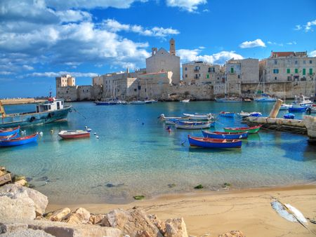 breakwaters: Tourism: This is a panoramic view of Giovinazzo touristic seaportof in Apulia. Stock Photo