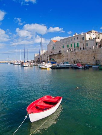 breakwaters: Tourism: This is a panoramic view of Giovinazzo touristic seaport of in Apulia.