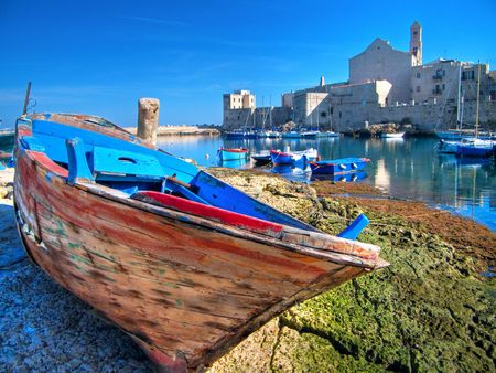apulia: Tourism: This is a landscape view of Giovinazzo touristic port. Apulia. Stock Photo