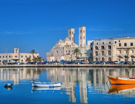 Tourism: This is a landscape view of Molfetta touristic port. Apulia.