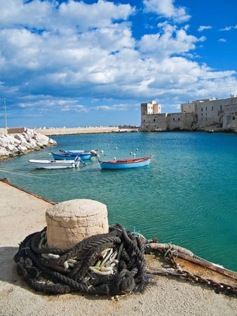 breakwaters: Tourism: This is a landscape view of Giovinazzo touristic port. Apulia. Stock Photo