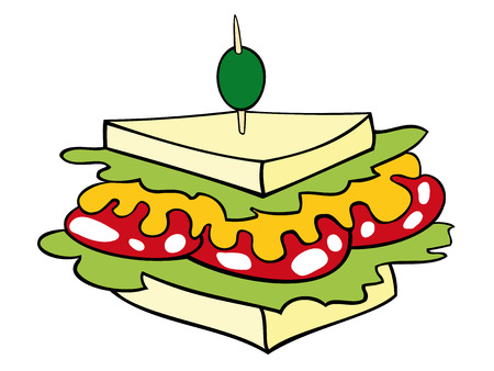 sandwiches: Vector: This is a club sandwich stuffed with salami, mustard and salad.