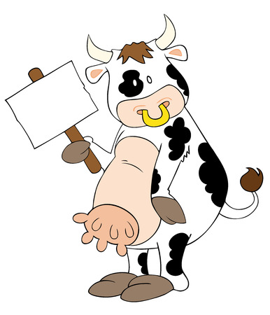 demonstrations: Vector: This is a funny dairy cow with white placard.