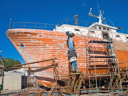 Transport: This is a ship repair in a shipyard of Monopoli. Apulia. photo