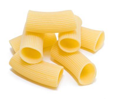 durum: Composition of Rigatoni italian Pasta isolated on white.