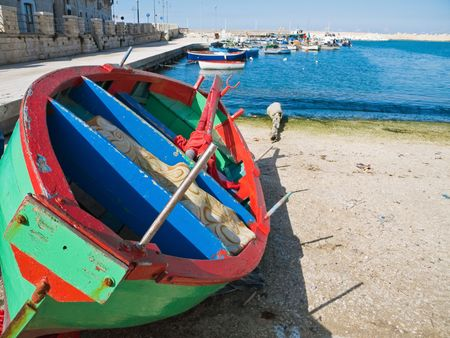 rowboat: The old port of Giovinazzo. Apulia. Stock Photo