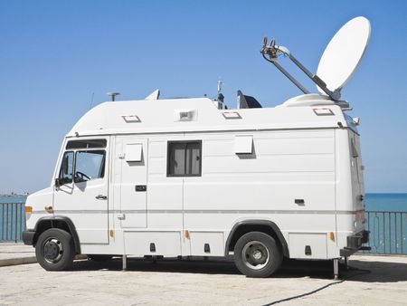 satellite view: Tv news truck.  Stock Photo