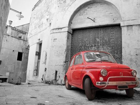 Red Classic Car.  Stock Photo