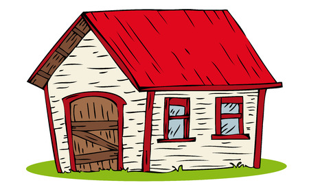red barn: Red Roof House. Illustration