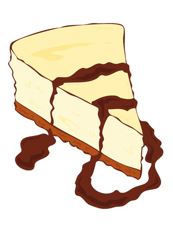 Cheesecake slice with melted chocolate. Illustration