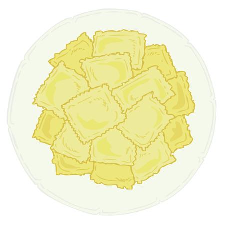 Ravioli on white dish.