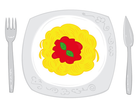 Spaghetti with tomato sauce and basil leaf on white dish with knife and fork. Vector