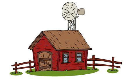 Casa de granja con molino de viento.  Ilustración de vector