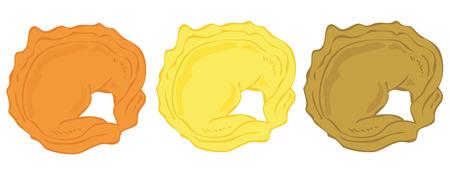 tortellini: Tortellini lined up.