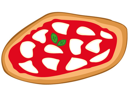 margherita: Pizza margherita with mozzarella, tomato sauce and basil. Illustration