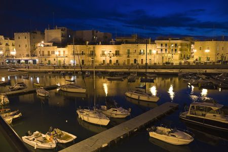 Giovinazzo touristic port by night. Apulia. photo