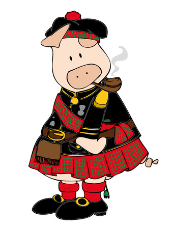 Scottish Pig with pipe. Stock Vector - 6895601