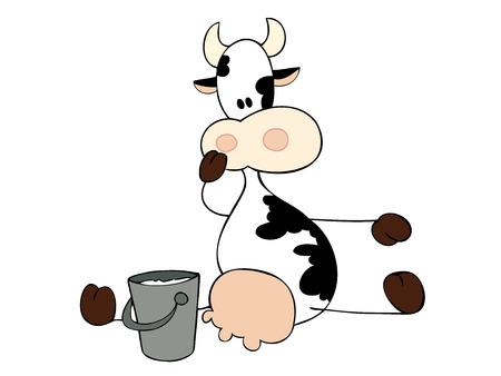 Dairy cow sitting with milk bucket. Stock Vector - 6895694