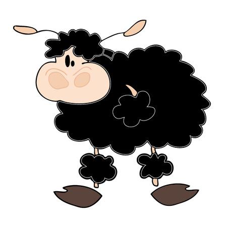 zwart schaap: Grappige zwarte schapen. Stock Illustratie