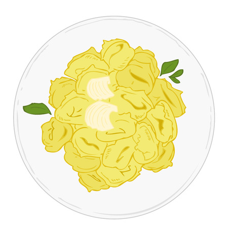 ham and cheese: Tortellini with butter and sage on white dish. Illustration