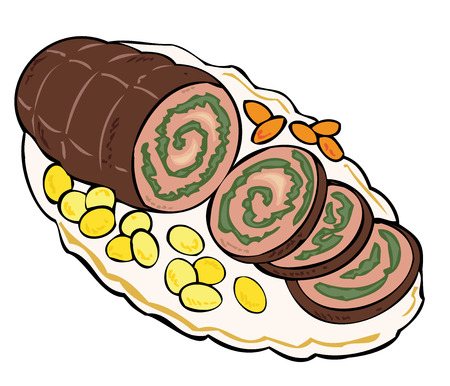 ham and cheese: Meat roulade with carrots and potatoes. Illustration