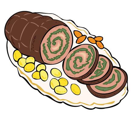 main dishes: Tonada de carne con patatas y zanahorias. Vectores
