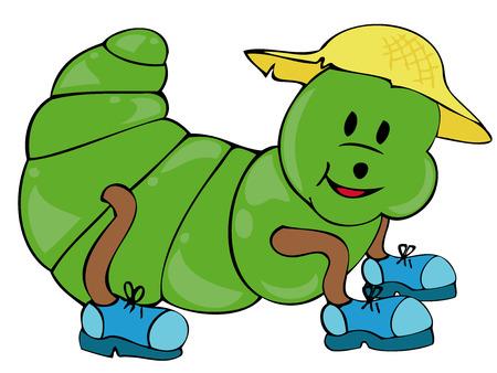 sombrero de paja: Caterpillar divertida con sombrero de paja y zapatos.