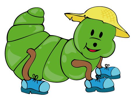 Funny Caterpillar with straw hat and shoes. Vector