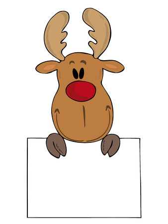 ruminant: Funny reindeer with white sign. Illustration
