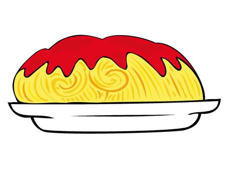 퓌레: Spaghetti with tomato sauce on white dish.