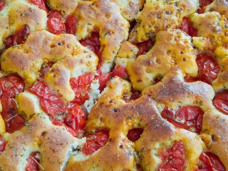woodfired: Bread dough focaccia. Italian food. Stock Photo