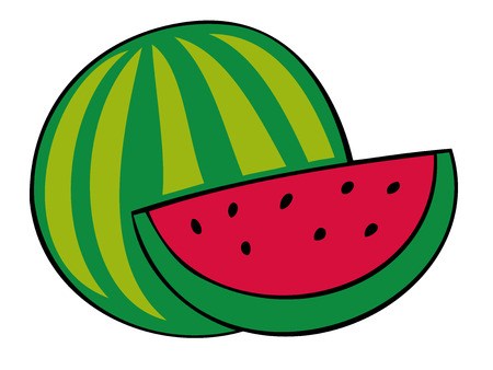 refreshed: Watermelon and slice. Illustration