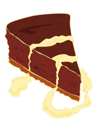 vanilla pudding: Rebanada de pastel de chocolate con crema fundida.