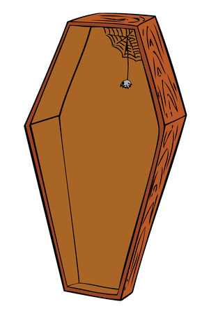 empty tomb: Wooden coffin. Illustration