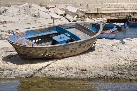 scraped: Abandoned boat. Stock Photo
