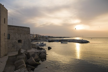 Giovinazzo touristic port at sunset. Apulia. photo