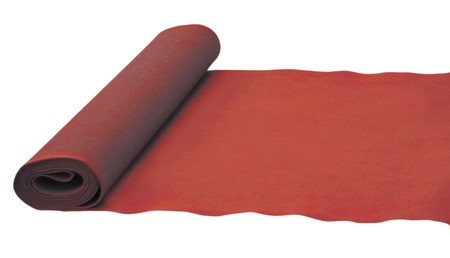 Red rolled carpet isolated on white. photo