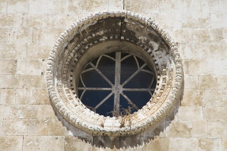 rose window: Rose window. Giovinazzo church. Apulia. Stock Photo