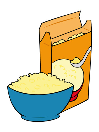 cereal box: Cornflakes in a blue bowl with Cereal box. Illustration