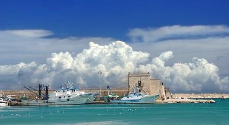 Panoramic view of Trani touristic port. Apulia.  photo