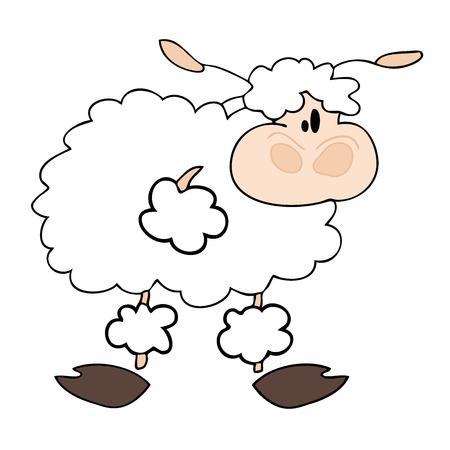 fluffy tuft: Funny white sheep. Illustration