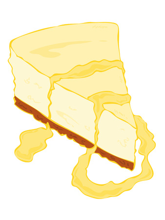 Cheesecake slice with custard cream. Vector