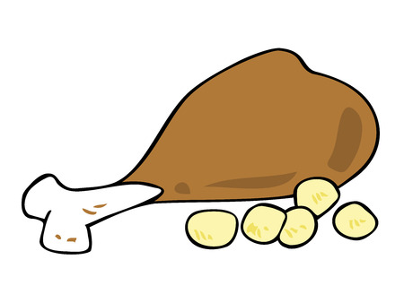 oven potatoes: Roasted Chicken thigh with potatoes. Illustration