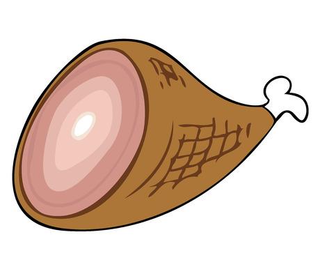 Cooked Ham. Vector