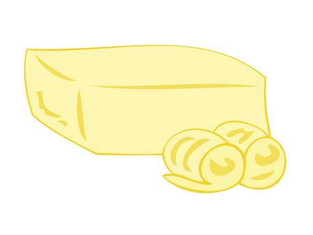 Boter blok met krullen.